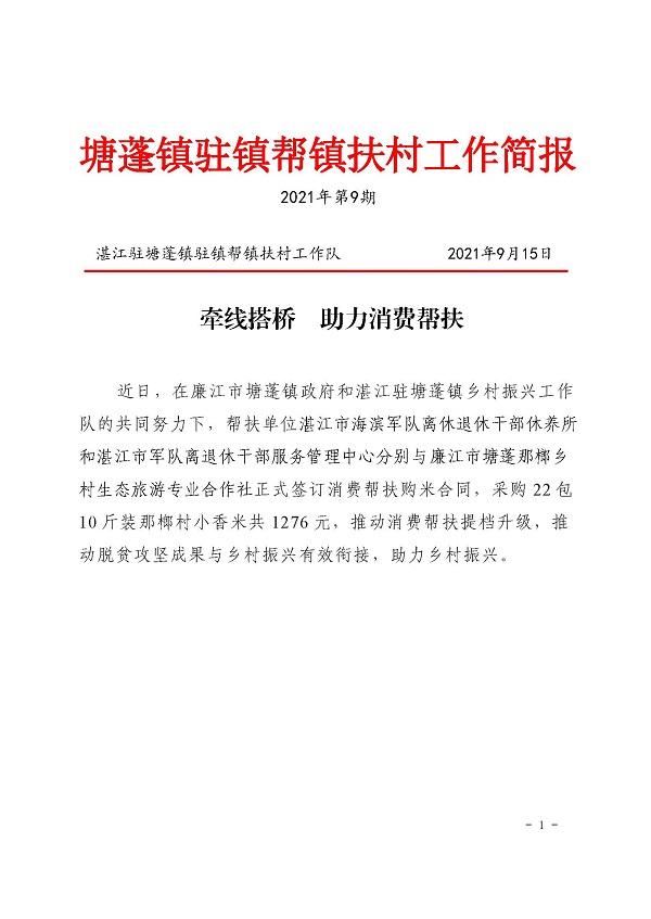 塘蓬镇驻镇帮镇扶村工作简报2021 第9期